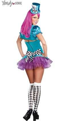 Totally Mad Costume, Neon Mad Hatter Costume, Adult Hatter Costume ...