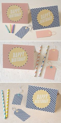 Free Printable Birthday Card & Gift Tags in Dotted Blush & Striped Navy… Birthday Tags, Happy Birthday, Diy Birthday, Yellow Birthday, Free Printable Birthday Cards, Printable Cards, Free Printables, First Birthday Balloons, Deco Retro