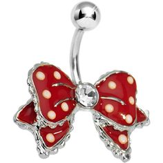 Dandy Red Polka Dot Bow Belly Button Ring #piercing #holiday #bodycandy $9.99