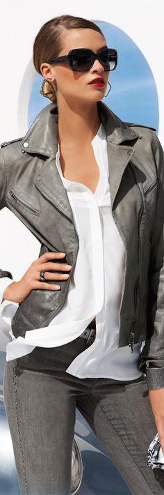 New 2014 Fall Arrivals from Madeleine....Leather Jacket...biker style.