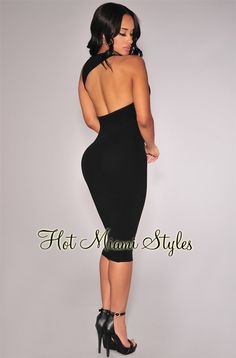 Black Ribbed Knit Open Back Dress Womens clothing clothes hot miami styles hotmiamistyles hotmiamistyles.com sexy club wear evening  clubwear cocktail party kim kardashian dresses