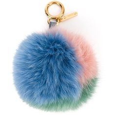 Fendi pom pom keyring ($370) ❤ liked on Polyvore featuring accessories, bags, charms, green, jewelry, ring key chain, fendi and key chain rings