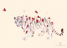 Tiger and red butterflies · Cirse Sabino · Online Store Powered by Storenvy