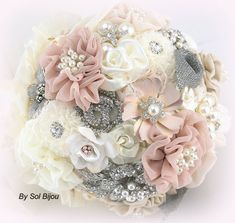 Brooch Bouquet Ivory Silver Blush Cream Vintage by SolBijou