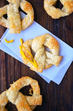 Cheesy Puff Pastry Pretzels from @Kelly Senyei | Just a Taste