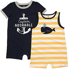 Carter's® Nautical 2-pk. Rompers - Boys nb-24m - jcpenney