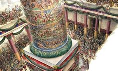 Illustration by Radu Oltean depicting the inaugural ceremony of Trajan's Column in Rome in 113 AD. Roman Architecture, Ancient Architecture, Roman History, Art History, European History, American History, Ancient Rome, Ancient History, Ancient Aliens