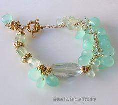 Gorgeous Aqua Chalcedony Briolette, Prasiolite Green Amethyst, and prehnite nuggets with 24kt Gold Vermeil Ornate Toggle Closure Gemstone Bracelet