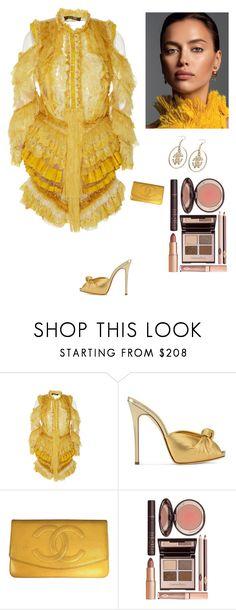 """Ruffled Mini Dress"" by kotnourka ❤ liked on Polyvore featuring Roberto Cavalli, Giuseppe Zanotti, Chanel and Charlotte Tilbury"