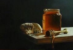Schilderij stilleven kaas met brood — Walter te Spenke
