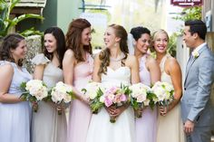 Florida wedding bridesmaids plus bridesman - maybe do shades of blueish for bridesmaids so the suit blends in???