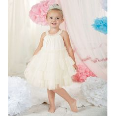 Won't She look Darling? The perfect Easter Dress, Birthday Photo Dress, or Birthday Party Outfit. - Ivory Mesh Dress - Tiered Ruffle Bodice - Mesh Ruffle Straps - Bamboo Liner and Binding