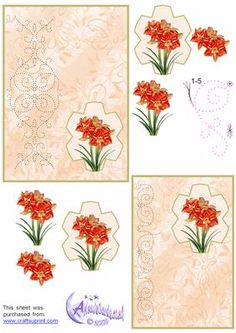 Amaryllis Card Front on Craftsuprint designed by Diana Hutchinson - Bright Amaryllis with a stitching panel and step by steps. - Now available for download!