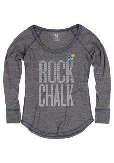 Kansas Jayhawks (KU) T-Shirt - Heather Navy Blue Jayhawks Furrow Mia Long Sleeve Tee http://www.rallyhouse.com/shop/kansas-jayhawks-570106 $34.99