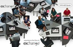 Collaboration Furniture, Collab Education Furniture, Collaborative Computer Conference Tables-- the Exchange™ Collaboration Table System by SMARTdesks Classroom Desk, Classroom Furniture, Library Furniture, Office Furniture, Furniture Design, Desk Arrangements, Desk Layout, Conference Table, Learning Spaces