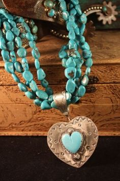 ~ Turquoise Heart Necklace/Pendant crafted by Rocki Gorman ~ Western Jewelry, Indian Jewelry, Boho Jewelry, Jewelry Gifts, Silver Jewelry, Handmade Jewelry, Jewelry Design, Fashion Jewelry, Turquoise Heart Necklace