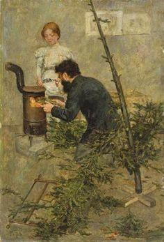 Fritz von Uhde, After Christmas, c. 1890