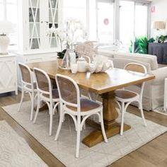 Online Furniture, Custom Furniture, Furniture Design, Hamptons Living Room, The Hamptons, Dining Room Suites, Oak Dining Table, House Styles, Banjo