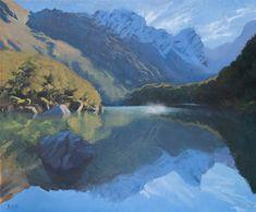 Dan Scott, New Zealand Reflections, 2019 Oil Painting Techniques, Acrylic Painting Techniques, Painting Lessons, Art Techniques, Landscape Paintings, Watercolor Paintings, Landscape Pics, Painting Trees, Art Courses