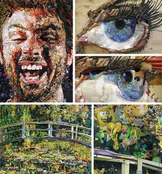Tom Deininger---found art creator.....large sculpture collages out of anything he can find (see close ups on the right of the eye from the face and the stuffed toys and such that make of Monet's garden bridge...amazing really.)