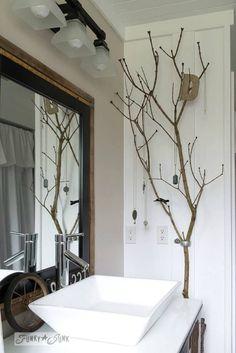 Tree branch jewelry holder in salvaged farmhouse bathroom makeover via… Diy Bathroom Decor, Diy Home Decor, Bathroom Ideas, Bathroom Makeovers, Bathroom Pictures, Diy Decoration, Bathroom Shelves, Bath Decor, Bathroom Designs