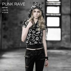 new arrival free shipping Punk rave2014 summer punk women's print hooded short-sleeve T-shirt $70.90