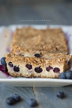 Eating Clean & Flexible Dieting (IIFYM): Healthy Blueberry Crumble Bars.  Refined sugar free, gluten free, easily make them grain free using almond flour, and low carb!  It's a cross between a crumble and a cheesecake and SO delicious!