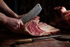 with a big knife - Gary's Meats - Food Photography