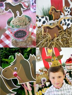 Barnyard red barn animals farm party ideas with lots of DIY decorations, party printables, sweet party food and favors! Farm Animal Party, Farm Animal Birthday, Barnyard Party, Farm Birthday, Farm Party, Horse Birthday Parties, Birthday Party Themes, Party Printables, Happy Birthday Tag