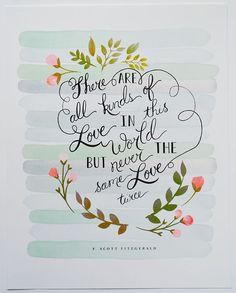 F Scott Fitzgerald todas las clases de amor 11 x 14 arte grabado