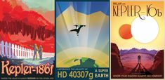 These amazingly retro NASA travel posters feature three real-life alien planets: Kepler 186f, HD 40307g and Kepler 16b. They were created for NASA's PlanetQuest project at the agency's Jet Propulsion Laboratory in Pasadena, California to share facts about the strange new worlds with the public.