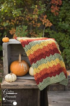 Crochet Pattern Colors of Autumn Throw beautiful textured design by Crafting Friends Designs