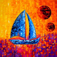 """A sweet escape to the sea"" - Oil on canvas, 36x36in - Original Fine Art Artist: Laelanie Larach Nautical Fine Art, Miami FL Description: The painting shows an abstract blue sailboat sailing in the deep sea of colors. A colorful sunset surrounds the sailboat with a cascade of lights in different abstract forms. Each brush stroke blends"