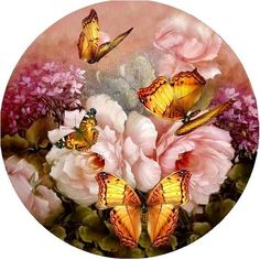 Round pictures for decoupage. Round pictures for decoupage. Decoupage Vintage, Decoupage Paper, Illustration Blume, Butterfly Pictures, Butterfly Art, China Painting, 5d Diamond Painting, Cross Paintings, Cross Stitch Flowers
