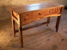 Items similar to Butcher Block Kitchen Island from Reclaimed Hardwood and Rustic Pine Base on Etsy Butcher Table, Butcher Block Kitchen, Butcher Block Island, Wood Kitchen Island, Kitchen Islands, Reclaimed Kitchen, Rustic Kitchen Tables, Primitive Kitchen, Porches