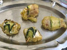 """""""Envoltillos"""" Por Ivan Vega, de Sant Carles de La Rapita. Elaborada con huevo duro sobre el que se enrolla queso de fundir, jamón york y lámina de calabacín sujetos con un palillo."""