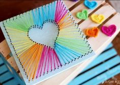 Nail String Heart Art Tutorial