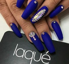 Matte nails blue acrylic with rhinestones prom dress - small Blue Stiletto Nails, White Gel Nails, Blue Acrylic Nails, Coffin Nails Long, Gold Nails, Matte Nails, Blue Nails, Glitter Nails, French Nail Designs