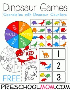 Perfect for dinosaur loving learners are these brand new free Dinosaur Preschool Printables from PreschoolMom.com! Included are dinosaur classification cards in black and white or color, dinosaur math maths, a dinosuar coloring quilt creation and so much more.