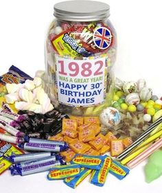 Personalised Jar Of Sweets - 30th Birthday Gifts With Free Replica Wonka Bar By Britishcandy by BritishCandy