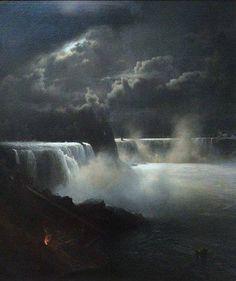 Hermann Ottomar Herzog (1832–1932), View of Niagara Falls in Moonlight,