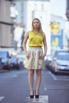 Katka model Jenny Jeshko  Silk blouse, cotton necklace and eco-leather perfored skirt. All by #jennyjeshko.  Photo by #ErikFotografKoritko.