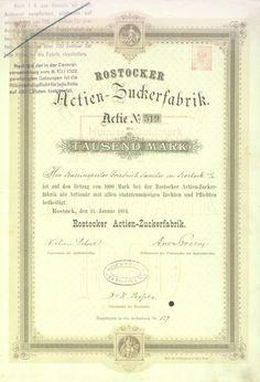 Rostocker Actien-Zuckerfabrik / Namens-Aktie 1000 Mark, Rostock 11.11.1884