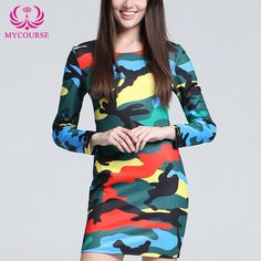 Find More Dresses Information about MYCOURSE 2016 Autumn Casual Women Bodycon Dresses Camo Print O neck Long Sleeve Dresses Mini Elegant Slim Office Party Dresses,High Quality party homecoming dresses,China dress colour Suppliers, Cheap party dresses womens from MYCOURSE on Aliexpress.com