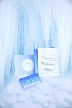 Pin for Later: The Coolest (Pun Intended) Ideas For a Frozen-Themed Wedding The Invitations Use an icy blue color scheme for the invitations. Photo by Meredith Carlson Photography via Wedding Chicks Wedding Pins, Wedding Cards, Dream Wedding, Wedding Stuff, Cute Wedding Ideas, Wedding Inspiration, Wedding Unique, Wedding Pictures, Frozen Wedding Theme