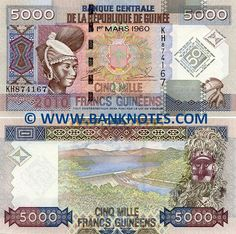 Guinea 5000 Guinean Francs 2010 IFront: Portrait of a young tribal Fulani Peul (Wodaabe) woman with traditional hairstyle. Coat of arms. Nimba goddess of fertility dance headdress (Yoke ritual shoulder mask), Baga Tribe.