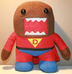 "9.5"" Super Domo Plush Character Red Suit and Cape"