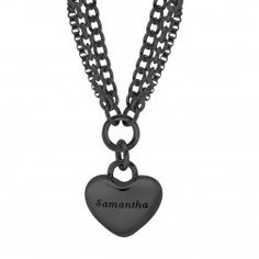 Stainless Steel Black Tone High Polished Multi Strand  Heart Charm Necklace - $100.00