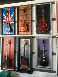 Tonstudio Mole Landscaping Ideas for Your Home o what is home landscaping really all about? Guitar Display Case, Guitar Storage, Home Music Rooms, Music Studio Room, Guitar Room, Guitar Wall, Guitar Decorations, Music Man Cave, Guitar Crafts