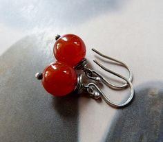 Carnelian Sterling silver earrings, wire wrapped earrings, natural jewelry, dangle earrings